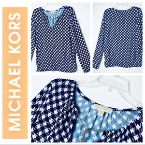 MICHAEL - Michel KORS Long Sleeve Print BLOUSE Top